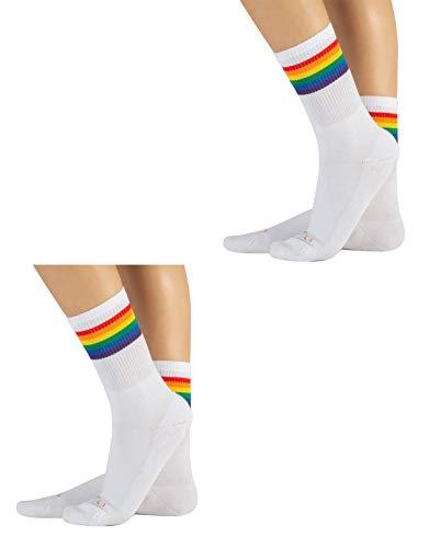 CALZITALY 2 Paar Unisex Socken mit Regenbogen Muster| Baumwolle Strümpfe für Damen und Herren | Grau, Weiss | 35/38-39/42-43/46 | Made in Italy (35/38, Weiß)