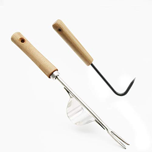 2 Pack Hand Weeder with Wood Handle,Single-Claw Hook and Manual Weeder,Homes Garden- Forged Steel Blade-Ergonomically Designed for Digging,Edging & Planting - Perfect for Small Gardening Jobs