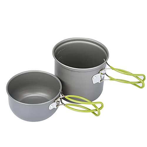 G4Free 2/4/13 PCS Camping Cookware Mess Kit Hiking Backpacking Picnic Cooking Bowl Non Stick Pot Knife Spoon Set (2PCS Green)