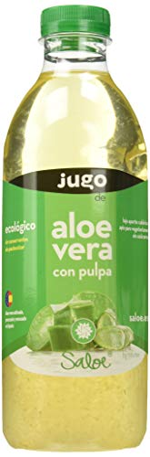 Saloe Jugo Aloe Vera con Pulpa Ecológico - 3 Recipientes de 1000 ml - Total: 3000 ml