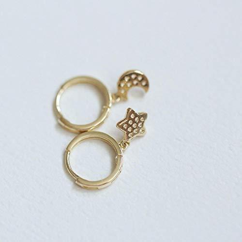 yuge 9k Solid Gold Hoop Dangle Drop Crystal Circle Earring Stud Minimal Minimalist Jewelry Gift Bridesmaid Bride Wedding