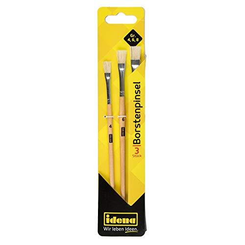 Idena 60105 - Borstenpinsel, 3er Set, in den Größen 4, 6 & 8