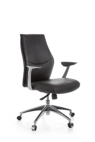 AMSTYLE Bürostuhl OXFORD 2 Echt-Leder Schwarz Design Schreibtischstuhl Armlehne Chefsessel höhenverstellbar 120KG Drehstuhl Synchronmechanik Drehsessel X-XL Polster Rücken-Lehne Kopfstütze ergonomisch