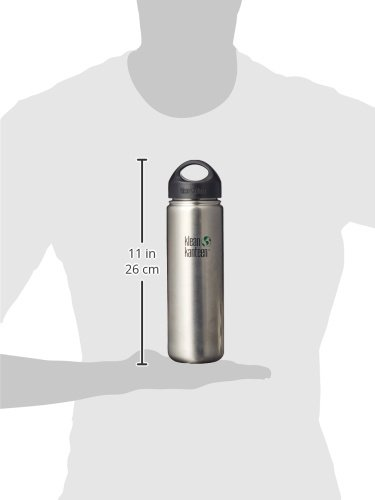 Klean Kanteen Wide Water Bottle with Stainless Loop Cap (Brushed Stainless Single Wall, 27-Ounce)
