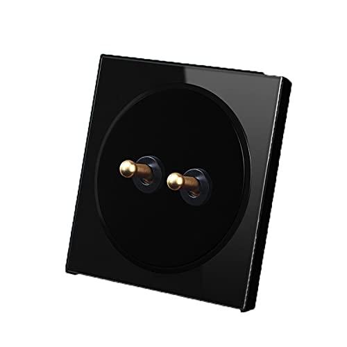 Yoaodpei Interruptor de Palanca de latón con Panel acrílico Plano Puro Interruptor de Pared Negro para el hogar 86 Interruptor Oculto Panel de Interruptor de luz para el hogar 1-4Gang