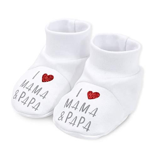 Baby Sweets Schuhe weiß | Motiv: I Love Mama & Papa | Babyschuhe mit Herz Motiv für Neugeborene & Kleinkinder | Größe: 6-9 Monate (74)
