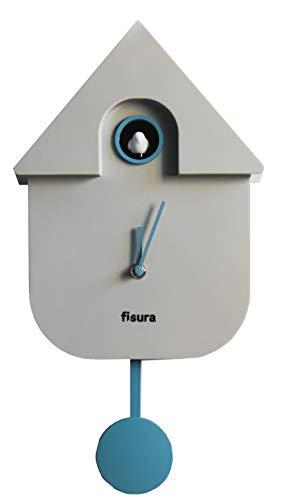Fisura | Reloj Cuco Moderno de Pared con Pájaro con Forma de Casa | Reloj Cuco Minimalista con un Diseño Moderno, Color Gris 21x8x40cm
