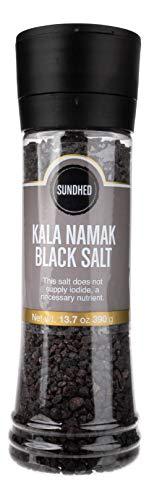 Sundhed Himalayan Black Rock Salt Kala Namak (Course) in Grinder   390 Grams (13.75 oz)   Natural Vegan Seasoning