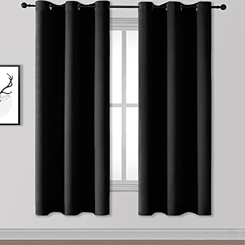 Rutterllow Blackout Curtains for Bedroom, Thermal Insulated Room Darkening Curtains 2 Panels for Living Room, Grommet Top (42x72 Inch, Black)