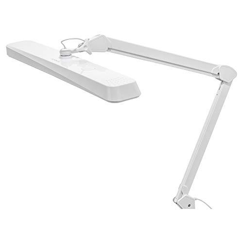 SEMPLIX LED Arbeits-Tischlampe weiß (324 LED/ dimmbar in 5 Stufen/ Tischklemme)