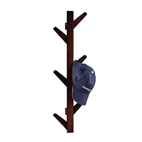 Relaxdays Wandgarderobe aus Bambus, 6 Haken, Garderobe, Kleiderhaken für Bad und Flur, HxBxT: 78 x 22 x 7 cm, schokobraun