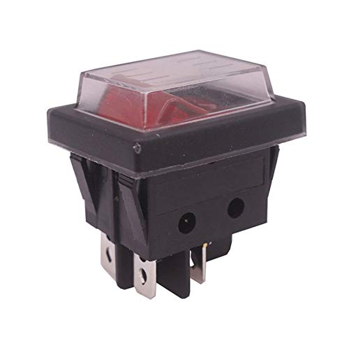 Kfdzsw Interruptor basculante 2 PCS Botón Rojo Interruptor de Rocker 4 Enchufes 37 * 30 * 30 mm 16A 250V AC / 20A 125V CA Interruptores de Equipos eléctricos al por Mayor