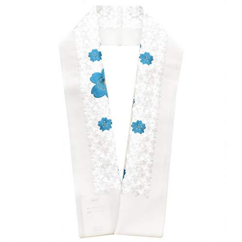 (着物ひととき) 半襟 刺繍 振袖用 半衿 成人式 シルドール 花づくし 刺繍半衿 和装小物 白無垢 打掛 花嫁 婚礼 衣装 結婚式 白 青 桜 sin6122-kboa33