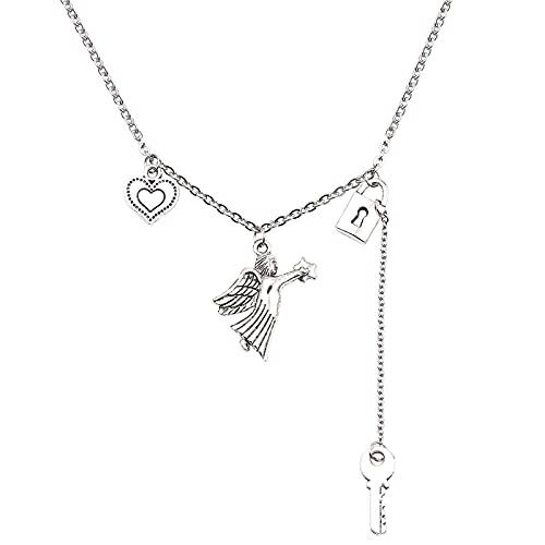 Collar con colgante de corazón con llave de bloqueo de Ángel Harajuku gótico Hiphop cadena de clavícula de Metal collares bonitos para mujer gargantilla joyería
