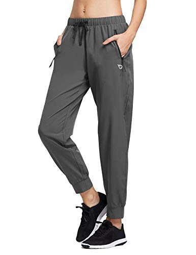 BALEAF Women's Athletic Joggers Dry Fit Running Pants Lightweight Woven Hiking Sun Protection UPF 50+ Zipper Pockets Gray M