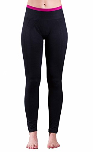 EmpireAthletics – Pantalón de Yoga súper suave y fino con cinturilla elástica Tamaño XS - Pantalones de Fitness elásticos deportivos chándal Workout Pilates Ejercicio Gimnasia Leggings en NEGRO-PINK