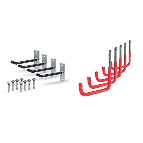 GAH-Alberts 801960 Felgenhalter-Set | 20 cm lange Felgen-Haken & 802196 Wandhaken | wahlweise in verschiedenen Größen | grau, mit roter Gummierung | 300 x 250 mm | 5er Set