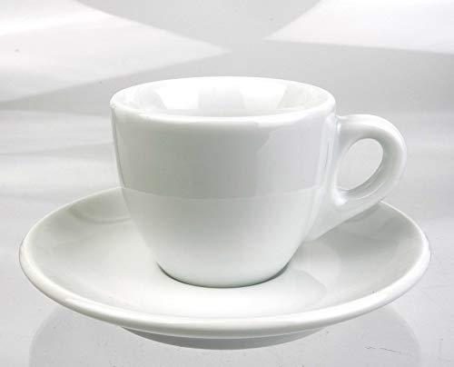 Moka Consorten Extra dickwandige italienische Espressotasse | »Verona« | 85 mm Tassenwand | Füllmenge (bis zur Oberkante): 65 ml | weiß | handgemacht | 1 Tasse & 1 Untertasse | Made in Italy