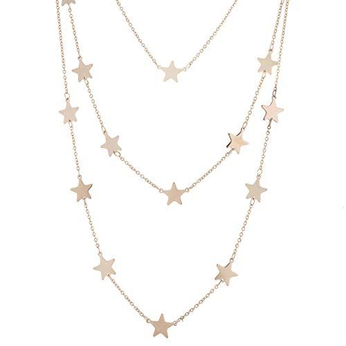 collana donna 3 fili inSCINTILLE Cuori e Stelle Collana a Tre Fili con Stelline in Acciaio (Oro Rosa)
