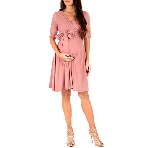 Product Image of the Mother Bee Maternity Women's Knee Length Wrap Dress with Belt for Baby Shower or...