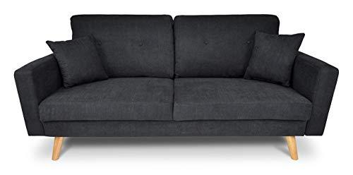 divano soggiorno SAMIRA Divano 3 posti in Tessuto Vellutato Nero MOD. Chloe