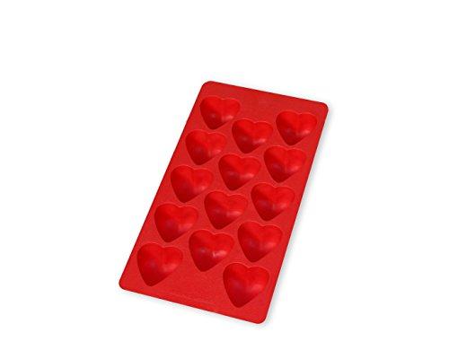 Lékué Eiswürfelform Herzen für 14 Eiswürfel in rot, Natürliches Gummi, 22 x 11,4 x 2,6 cm