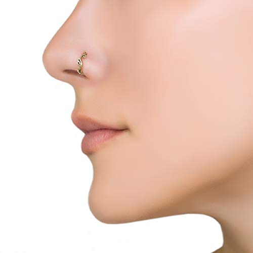 Gold Nose Ring, Brass Unique Indian Boho Nose Hoop Piercing Earring, Tiny Small Nose Ring Hoop, fits Tragus, Earlobes, Helix, Septum, 20g, Swirl Shaped, Handmade Piercing Jewelry