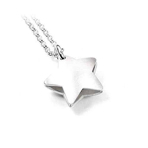 Sternanhänger Stern Sterne Sternchen Anhänger Medaillon mit Gravur + 45 cm Langer Kette beides 925 Silber | Ihre individuelle Gravur | Form: Stern | PSD15KE2