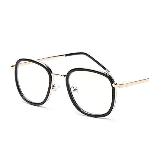 Protección radiológica Gafas Anti-BLU-Ray Computer Teléfono móvil Flat Flat Mirror Round Frame Protección Ocular Ojos (Color : Oro)