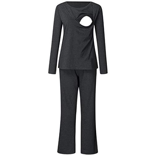 2 Piezas Pijama Premama Lactancia Otoño Ropa Maternidad Hospital Pijama Embarazada Manga Larga Top y Pantalones Conjuntos/2XL Gris Oscuro