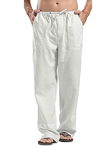 JINIDU Männer Cotton Yoga Beach Coole Lange Hosen Stretchy Drawstring Taillenhose, 1- Weiß, XL