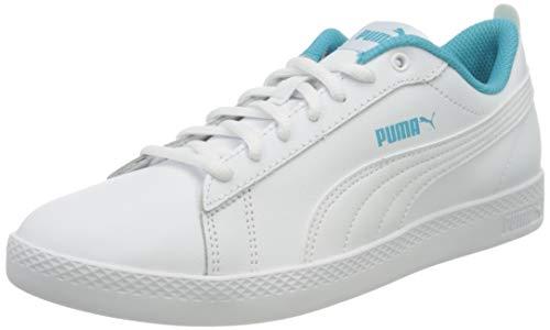 PUMA Damen Smash WNS V2 L Sneaker, Weiß - Puma Weiß Puma Weiß Scuba Blau - Größe: 38 EU