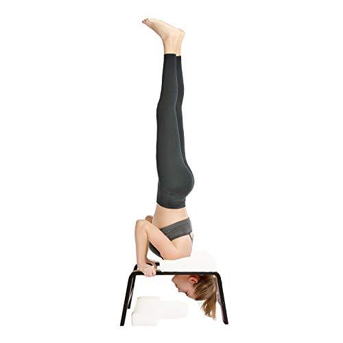 Restrial Life Yoga Kopfstandhocker, Yoga Kopfstandstuhl für Zuhause und Fitnessstudio, Holz und PU Polster, Ermüdung Entlasten und Körper Bauen (Dunkel Weiß)