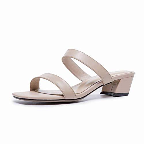 Women Sandals Sandales Femme Été Noir Mot Talon Haut avec des Chaussures à Bout Ouvert Épais avec des Sandales Chaussures Femme Romaine, Apricot, 37