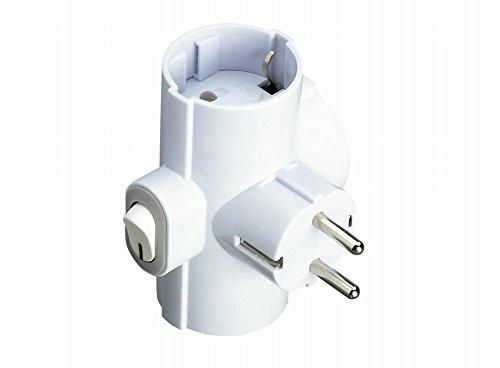 F-Line Clavija triple blanca con interruptor luminoso y toma de tierra lateral, 0.48 cm