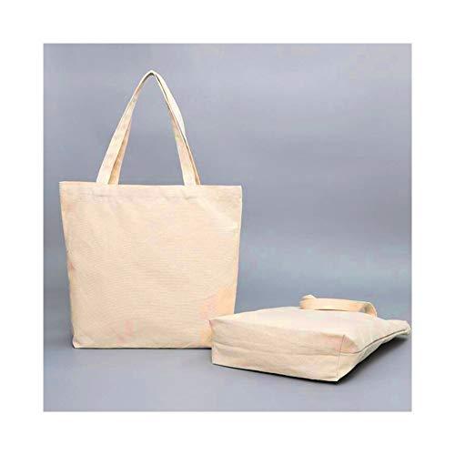 JINSUO NWXZU Blanco Bolsas de Compra Plegable Reutilizable Bolsa de Hombro Grande del Bolso del Tejido de la Bolsa de Asas de algodón for Las Mujeres Bolsas de la Compra (Color : Beige, Size : XL-)