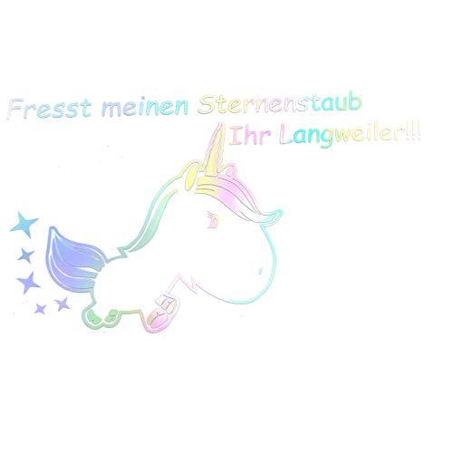 Finest Folia Einhorn Sternenstaub Aufkleber 13x11 cm Fun Sticker Auto Dekor Unicorn Autoaufkleber (K074 Hologramm)