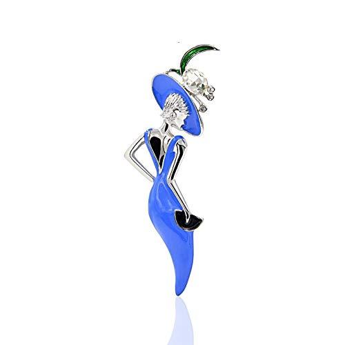 PicZhiwenture Broche Nuevo Vestido Azul para Mujer, Moda Sexy, Broche, Pin, Accesorios de Esmalte, Sombrero, Regalo de joyería de Estilo de Dama