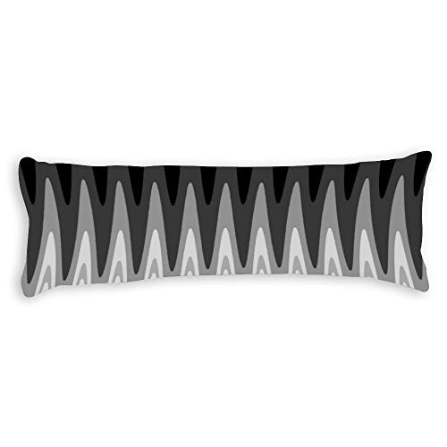 Promini Zig Zag Black White Gray Pattern Body Pillow Cover Pillowcases Cushion with Hidden Zipper Closure for Sofa Bench Bed Home Decor 20'x54'