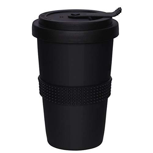 Mahlwerck Kaffeebecher to go, Porzellan Kaffee to go Becher mit auslaufsicherem Deckel, Schwarz, 350ml
