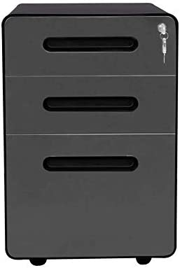 ApexDesk 3 Drawer Metal Mobile File Cabinet with Locking Keys Black Charcoal product image