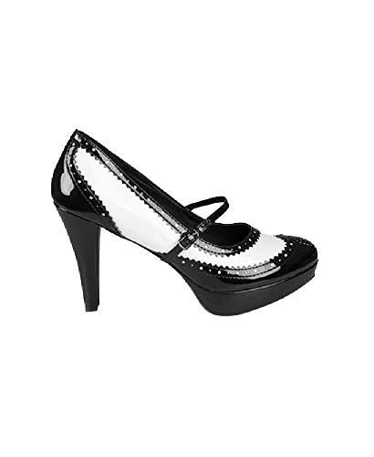 B46322-38 schwarz-weiß Damen French Maid Schuhe High Heels Gr.38