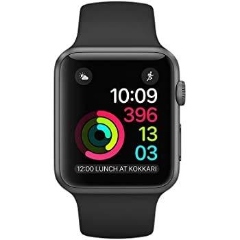 Apple Watch Series 4 44mm (GPS) - Aluminiumgehäuse Space Grau Schwarz Sportarmband (Generalüberholt)