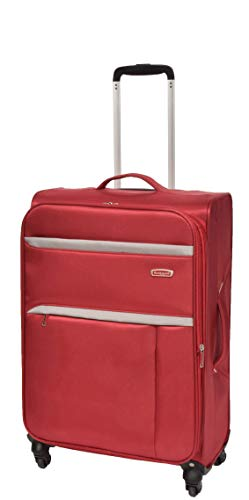 Medium Check-in Size Super Lightweight Luggage 4 Wheel Suitcase Red Bag Soft Case AR10