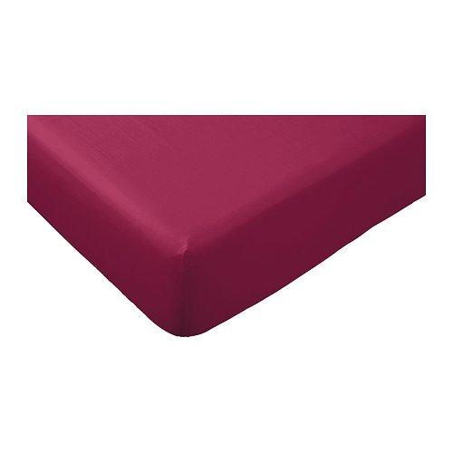 IKEA Spannbettlaken GULDAX Bettlaken 160 x 200 cm brombeer/lila - eingearbeitetes Gummiband - passend für Matratzen bis zu 25 cm - 100% Baumwolle - Jersey-Laken