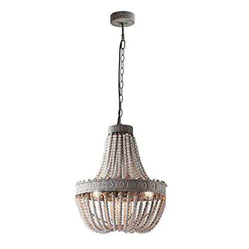 Waqihreu Candelabro de Cuentas de Madera Vintage rústico Moderno, Luces Colgantes de Pasillo E27 de 3 Luces, Accesorios de Luces de Techo de Granja para Sala de Estar Comedor-Vintage