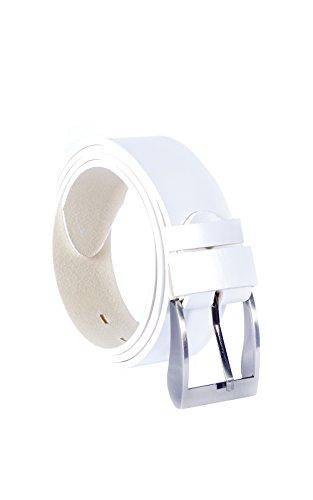 Kabber Damen Gürtel aus Leder – hochwertiger & pflanzlich gegerbter Ledergürtel für Frauen – 4 cm breit (101 - Weiß / 115 cm)