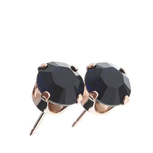 pewterhooter women's Rose gold stud earrings made with sparkling Indigo Blue crystal from Swarovski. Gift box. Made in the UK. Hypoallergenic & Nickle Free for Sensitive Ears.
