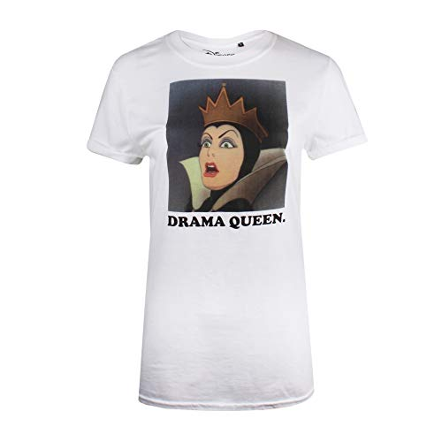 Disney Snow Drama Queen Camiseta, Blanco (White White), M para Mujer