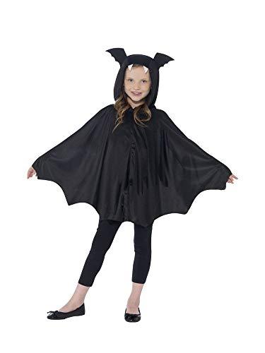 shoperama Capa de murciélago con capucha para disfraz infantil, capa de vampiro, alas de murciélago, para Halloween, niñas, talla S/M